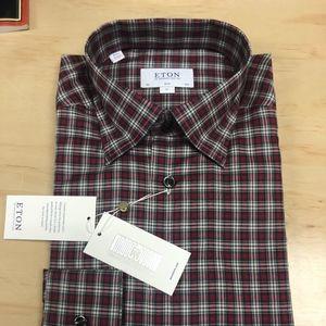 Eton Red Plaid Underbutton Slim Fit Shirt